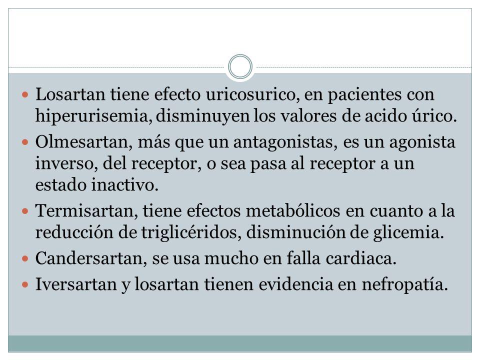 Losartan tiene efecto uricosurico, en pacientes con hiperurisemia, disminuyen los valores de acido úrico.