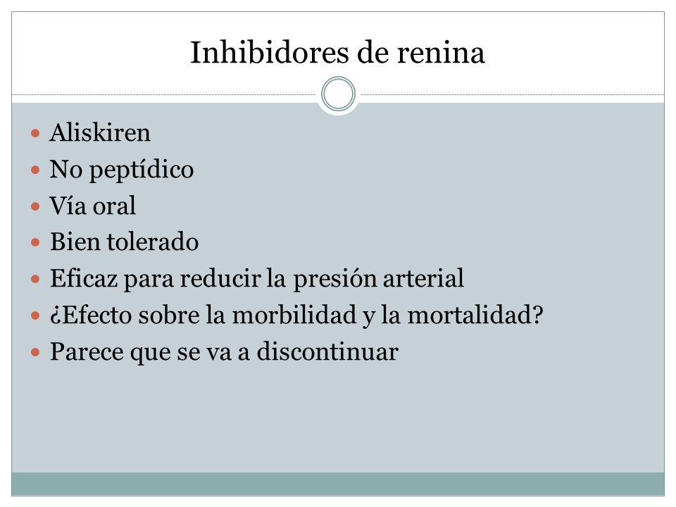 Inhibidores de renina Aliskiren No peptídico Vía oral Bien tolerado