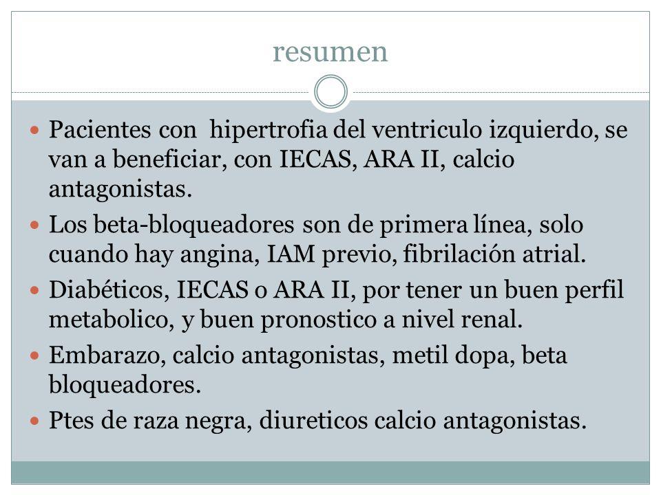 resumen Pacientes con hipertrofia del ventriculo izquierdo, se van a beneficiar, con IECAS, ARA II, calcio antagonistas.