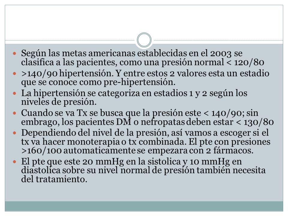 Según las metas americanas establecidas en el 2003 se clasifica a las pacientes, como una presión normal < 120/80