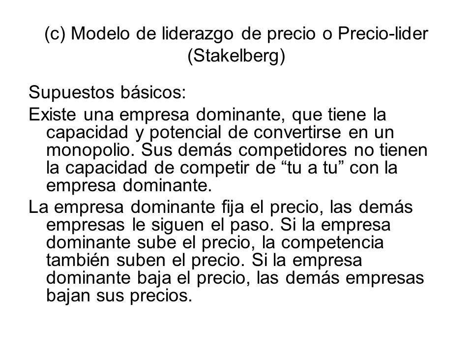 (c) Modelo de liderazgo de precio o Precio-lider (Stakelberg)