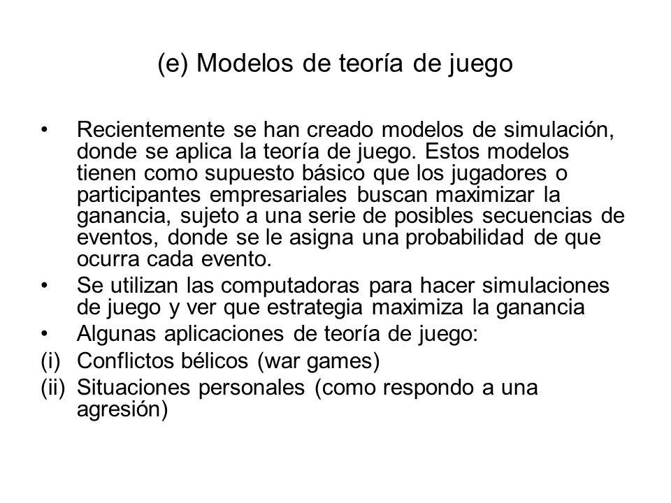 (e) Modelos de teoría de juego