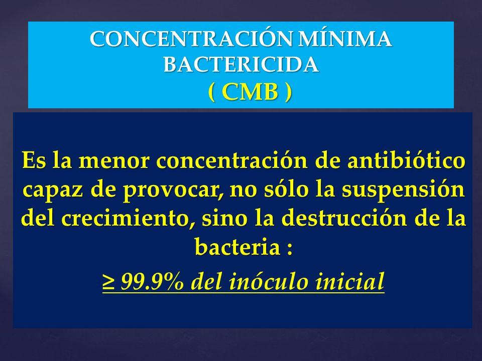 CONCENTRACIÓN MÍNIMA BACTERICIDA ( CMB )
