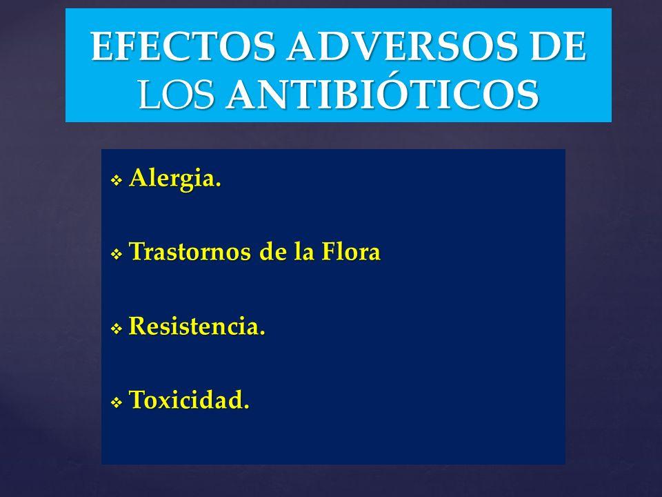 EFECTOS ADVERSOS DE LOS ANTIBIÓTICOS