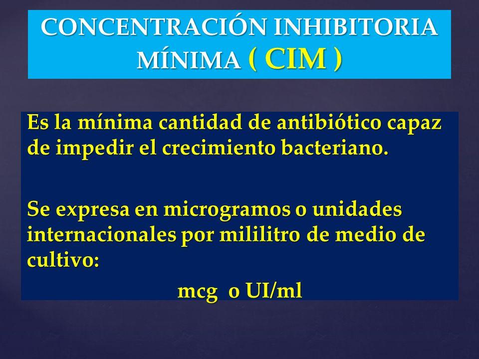 CONCENTRACIÓN INHIBITORIA MÍNIMA ( CIM )