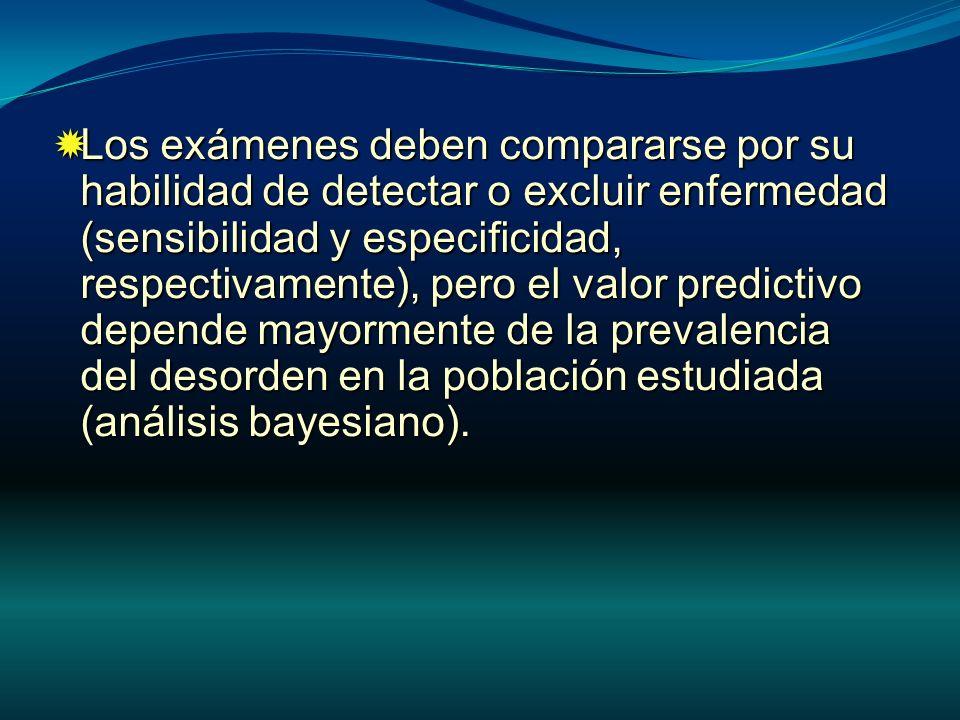 Los exámenes deben compararse por su habilidad de detectar o excluir enfermedad (sensibilidad y especificidad, respectivamente), pero el valor predictivo depende mayormente de la prevalencia del desorden en la población estudiada (análisis bayesiano).