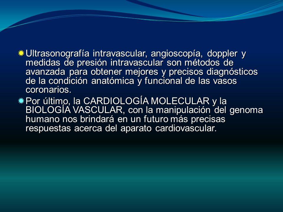 Ultrasonografía intravascular, angioscopía, doppler y medidas de presión intravascular son métodos de avanzada para obtener mejores y precisos diagnósticos de la condición anatómica y funcional de las vasos coronarios.