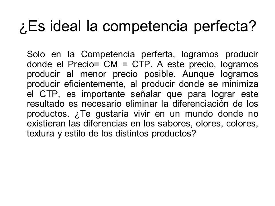 ¿Es ideal la competencia perfecta
