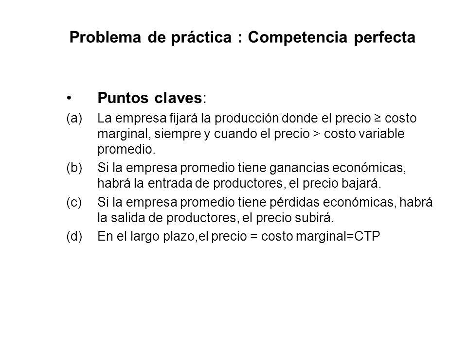 Problema de práctica : Competencia perfecta