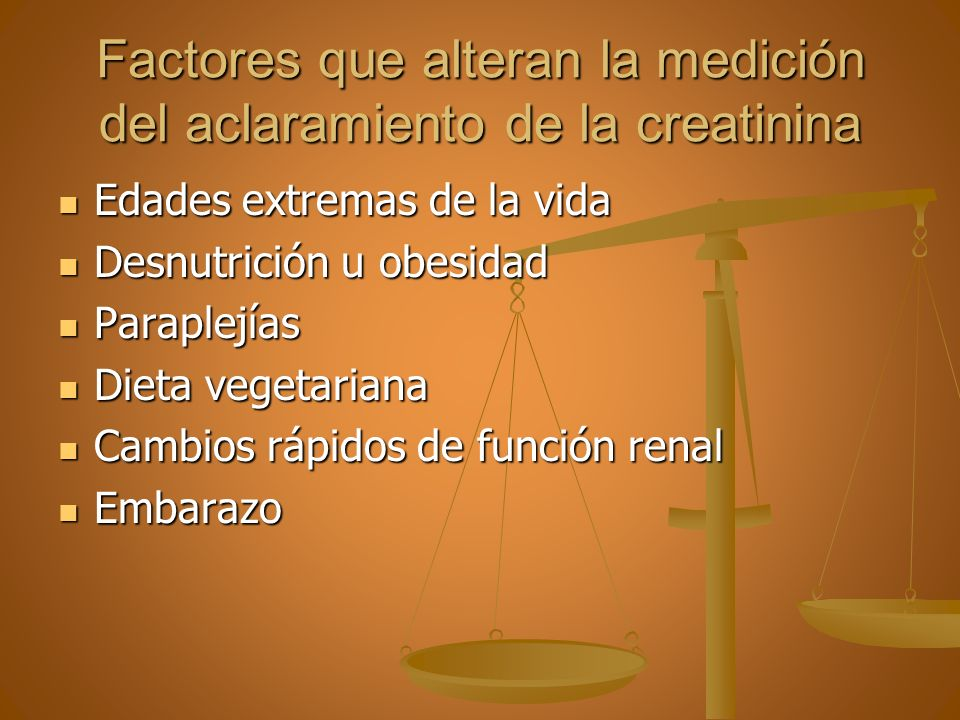 Factores que alteran la medición del aclaramiento de la creatinina