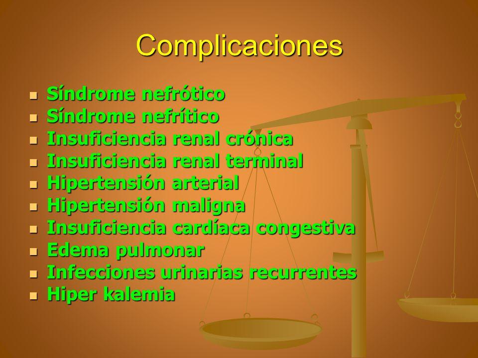 Complicaciones Síndrome nefrótico Síndrome nefrítico