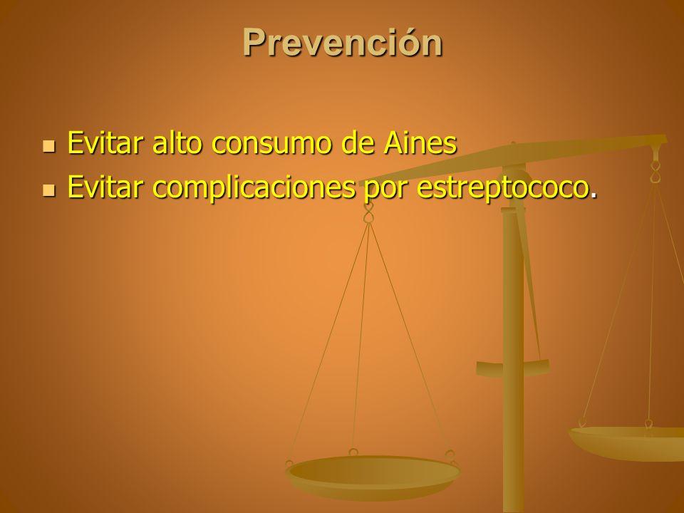 Prevención Evitar alto consumo de Aines