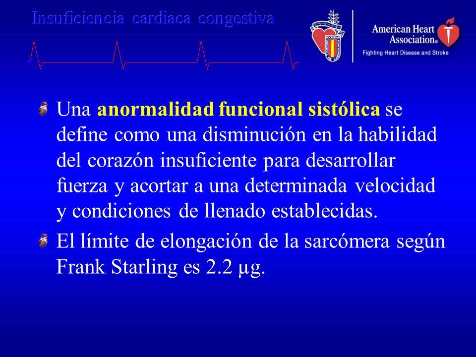 Una anormalidad funcional sistólica se define como una disminución en la habilidad del corazón insuficiente para desarrollar fuerza y acortar a una determinada velocidad y condiciones de llenado establecidas.