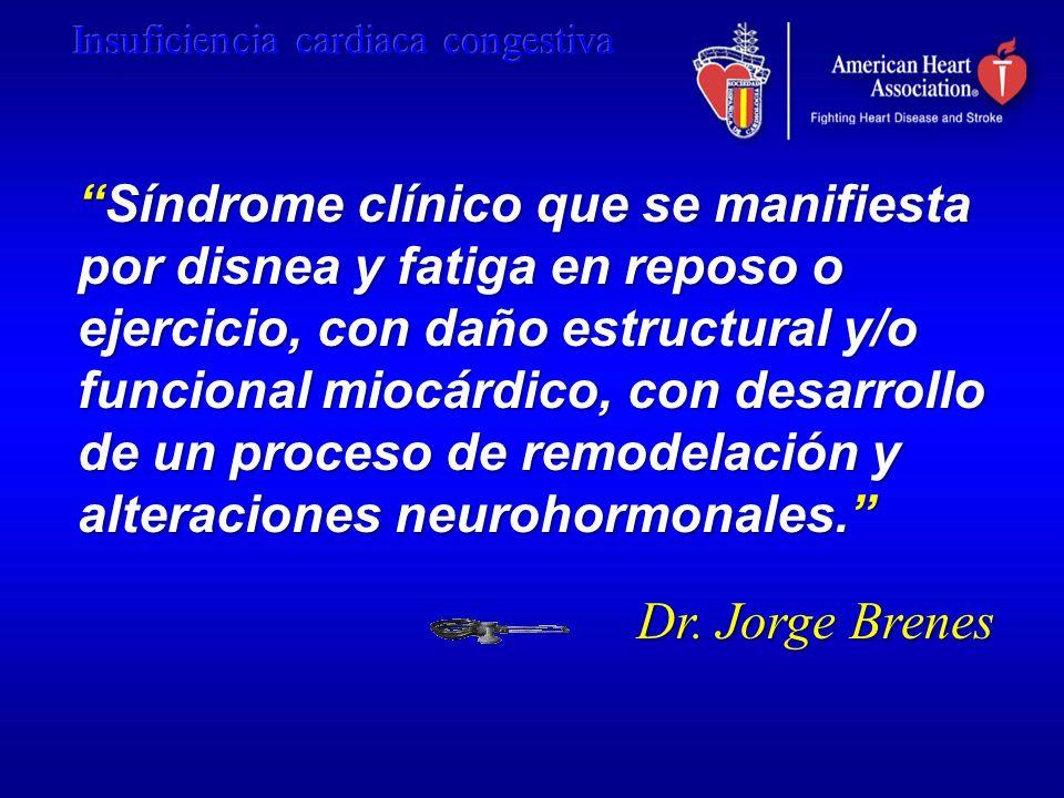 Síndrome clínico que se manifiesta por disnea y fatiga en reposo o ejercicio, con daño estructural y/o funcional miocárdico, con desarrollo de un proceso de remodelación y alteraciones neurohormonales.