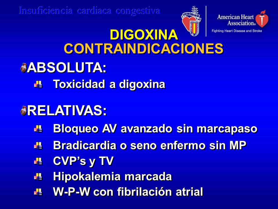 DIGOXINA CONTRAINDICACIONES