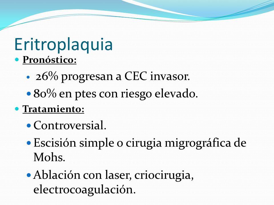 Eritroplaquia 80% en ptes con riesgo elevado. Controversial.
