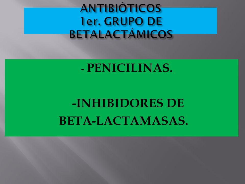 ANTIBIÓTICOS 1er. GRUPO DE BETALACTÁMICOS