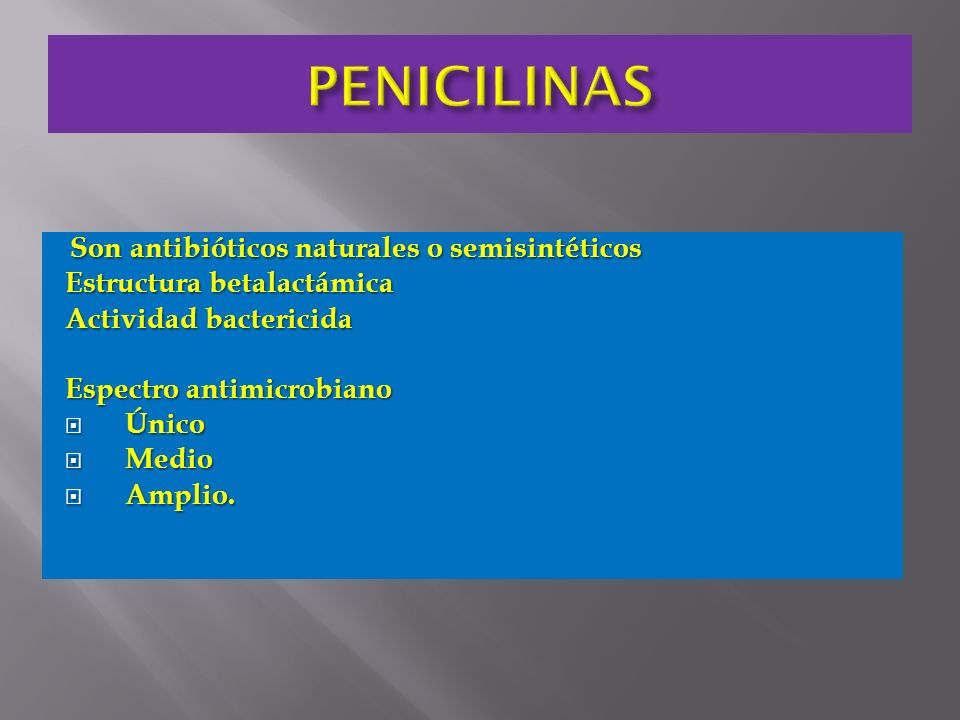 PENICILINAS Estructura betalactámica Actividad bactericida