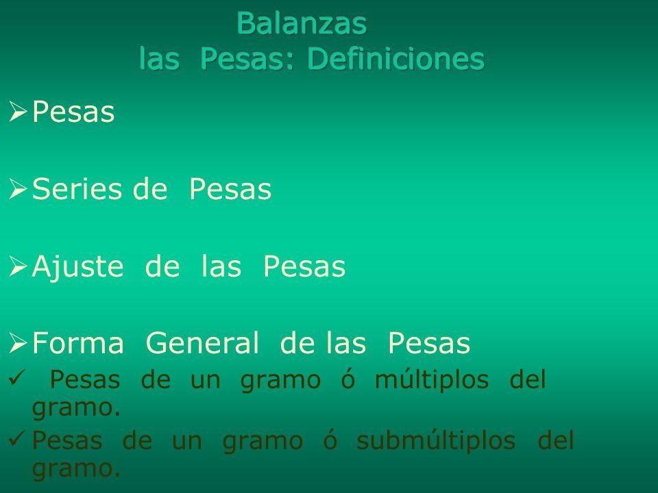 Balanzas las Pesas: Definiciones