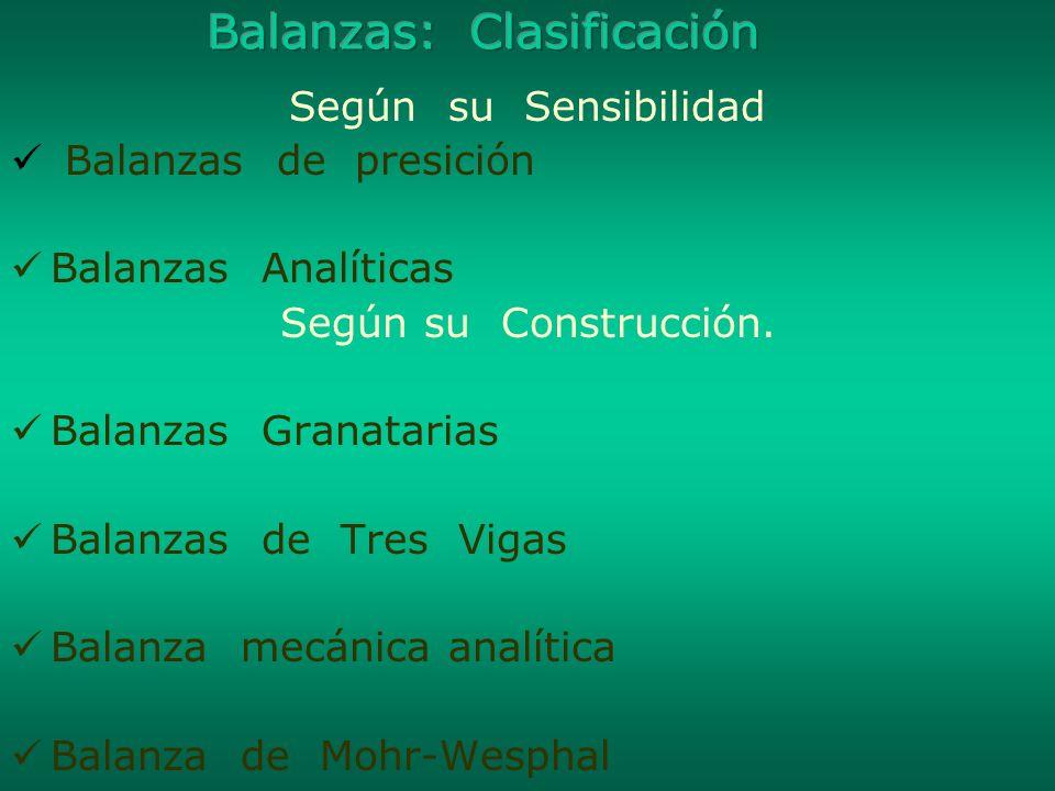 Balanzas: Clasificación