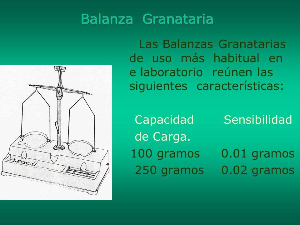 Balanza Granataria Las Balanzas Granatarias de uso más habitual en e laboratorio reúnen las siguientes características: