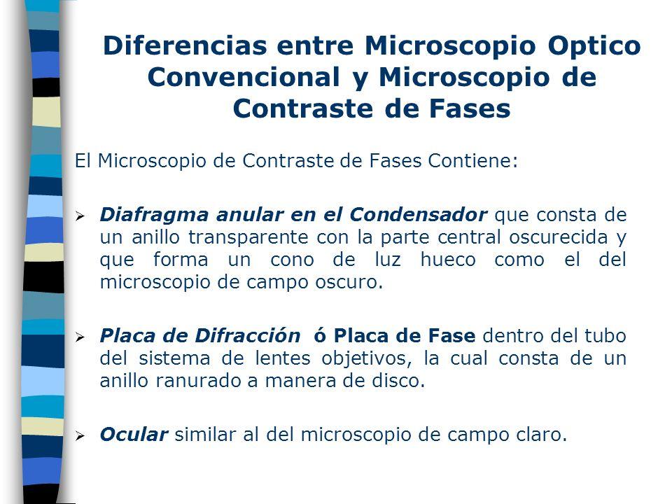 Diferencias entre Microscopio Optico Convencional y Microscopio de Contraste de Fases