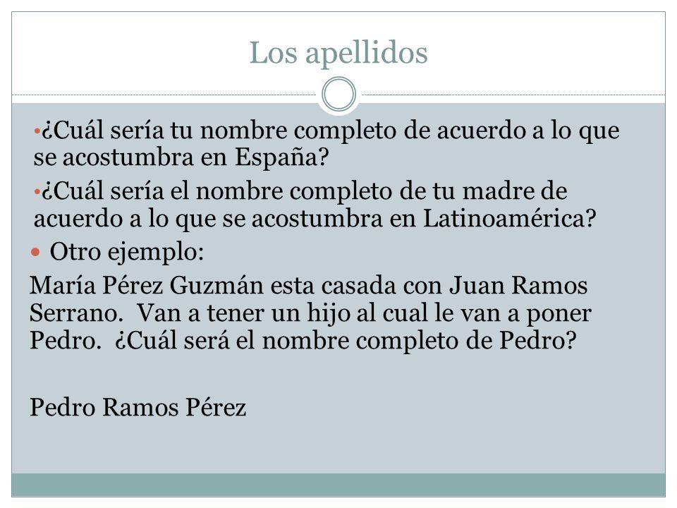 Los apellidos ¿Cuál sería tu nombre completo de acuerdo a lo que se acostumbra en España
