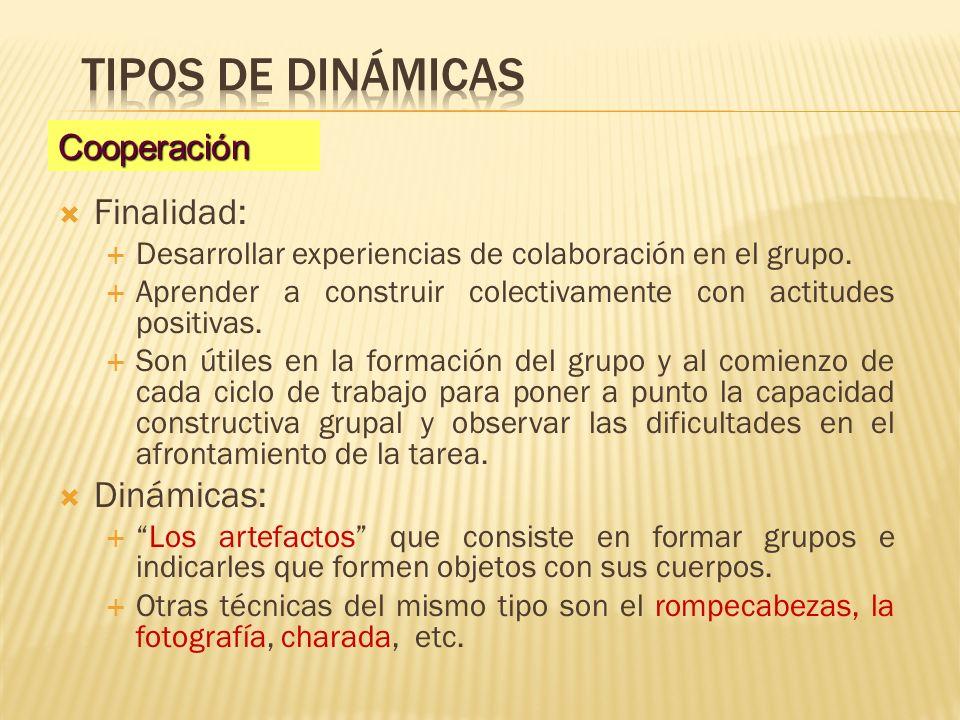 Tipos de dinámicas Finalidad: Dinámicas: Cooperación