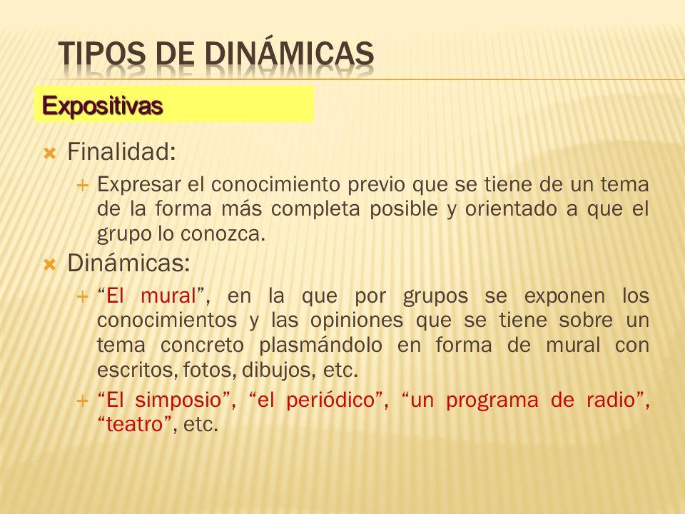 Tipos de dinámicas Finalidad: Dinámicas: Expositivas