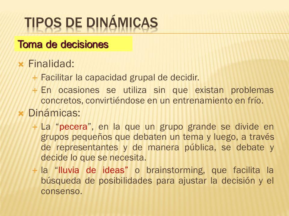 Tipos de dinámicas Finalidad: Dinámicas: Toma de decisiones