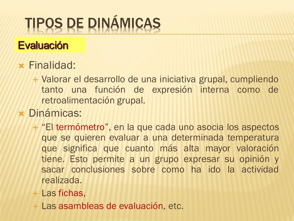 Tipos de dinámicas Finalidad: Dinámicas: Evaluación