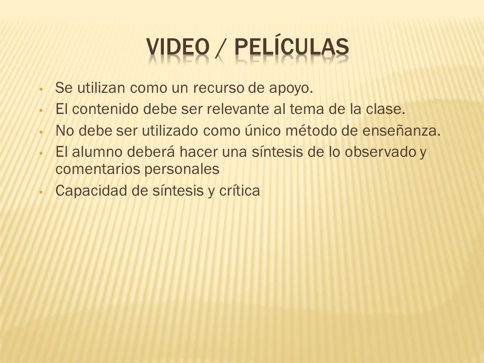 Video / Películas Se utilizan como un recurso de apoyo.