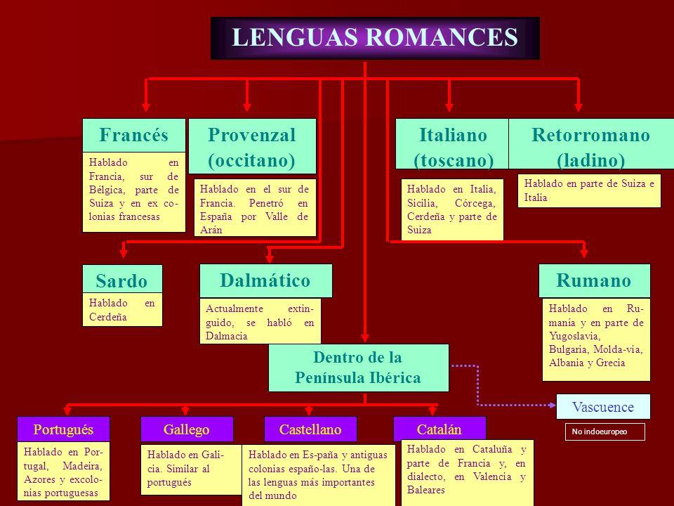 LENGUAS ROMANCES Francés Provenzal (occitano) Italiano (toscano)