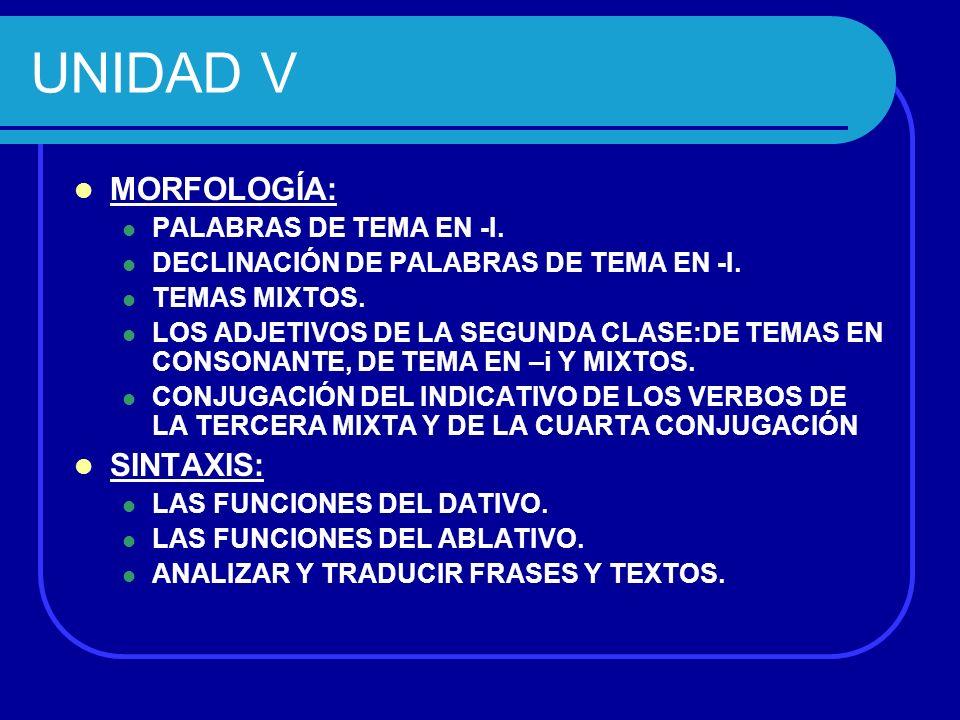 UNIDAD V MORFOLOGÍA: SINTAXIS: PALABRAS DE TEMA EN -I.