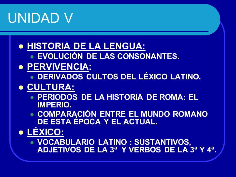 UNIDAD V HISTORIA DE LA LENGUA: PERVIVENCIA: CULTURA: LÉXICO: