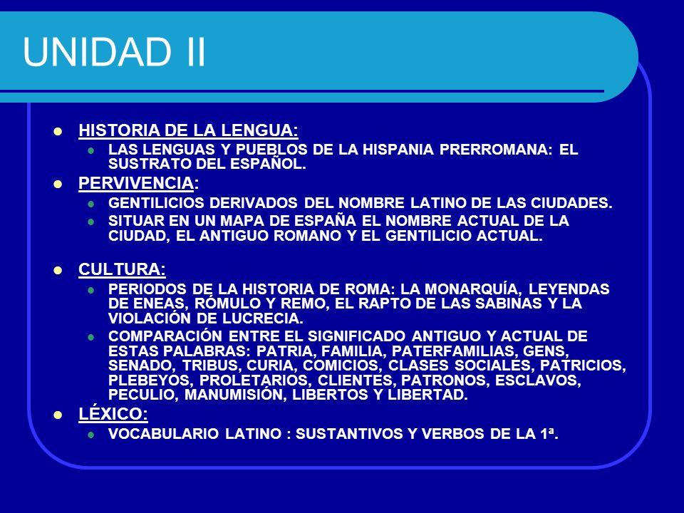 UNIDAD II HISTORIA DE LA LENGUA: PERVIVENCIA: CULTURA: LÉXICO: