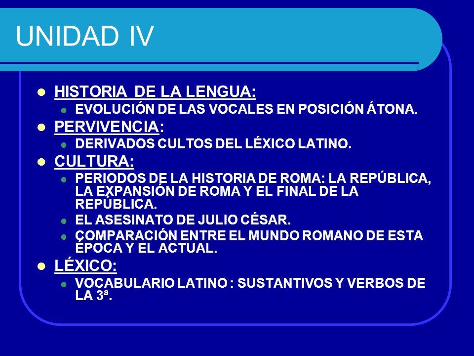 UNIDAD IV HISTORIA DE LA LENGUA: PERVIVENCIA: CULTURA: LÉXICO: