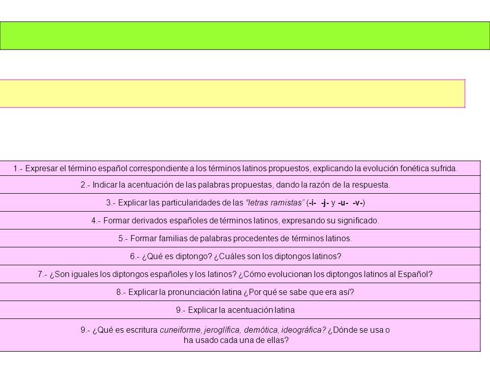5.- Formar familias de palabras procedentes de términos latinos.