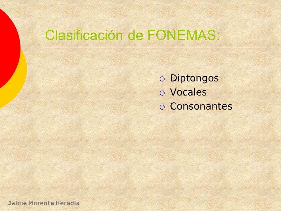 Clasificación de FONEMAS: