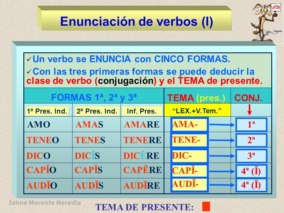 Enunciación de verbos (I)