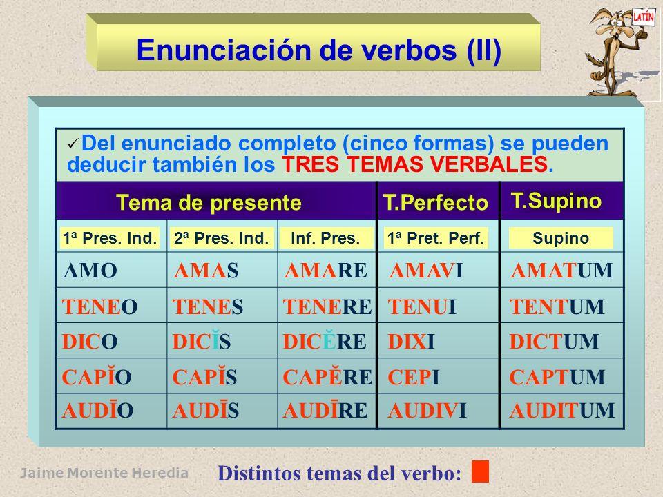 Enunciación de verbos (II)
