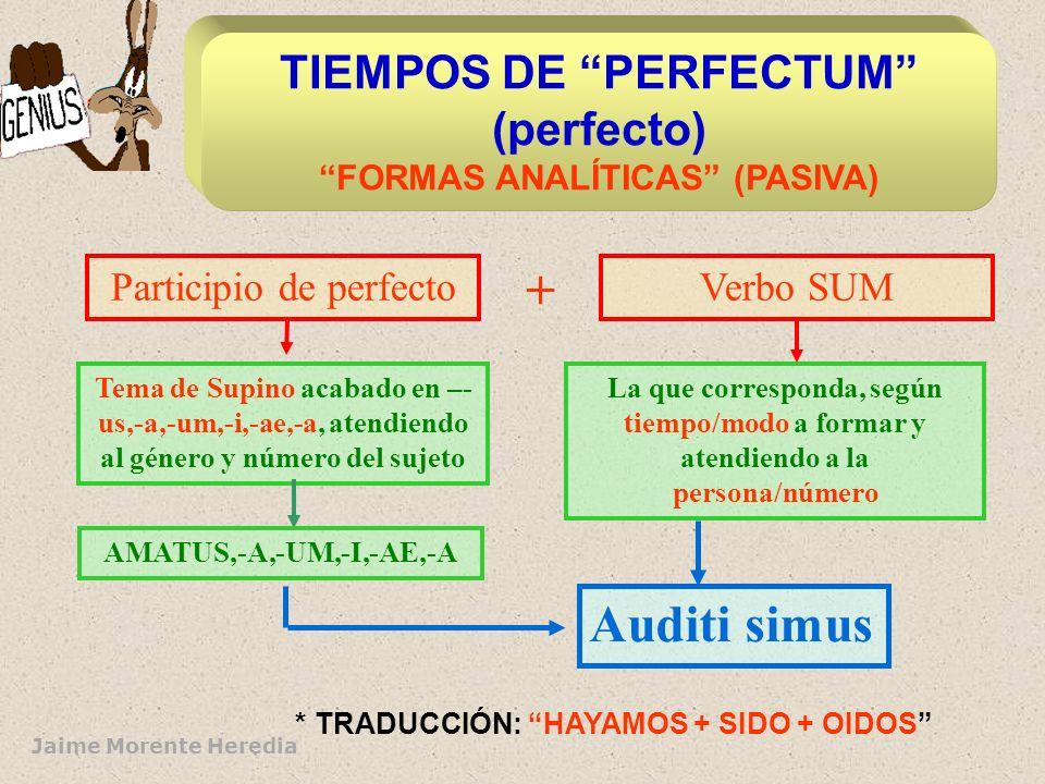 TIEMPOS DE PERFECTUM (perfecto) FORMAS ANALÍTICAS (PASIVA)