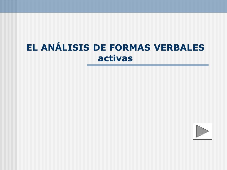 EL ANÁLISIS DE FORMAS VERBALES activas