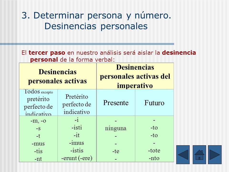 3. Determinar persona y número. Desinencias personales