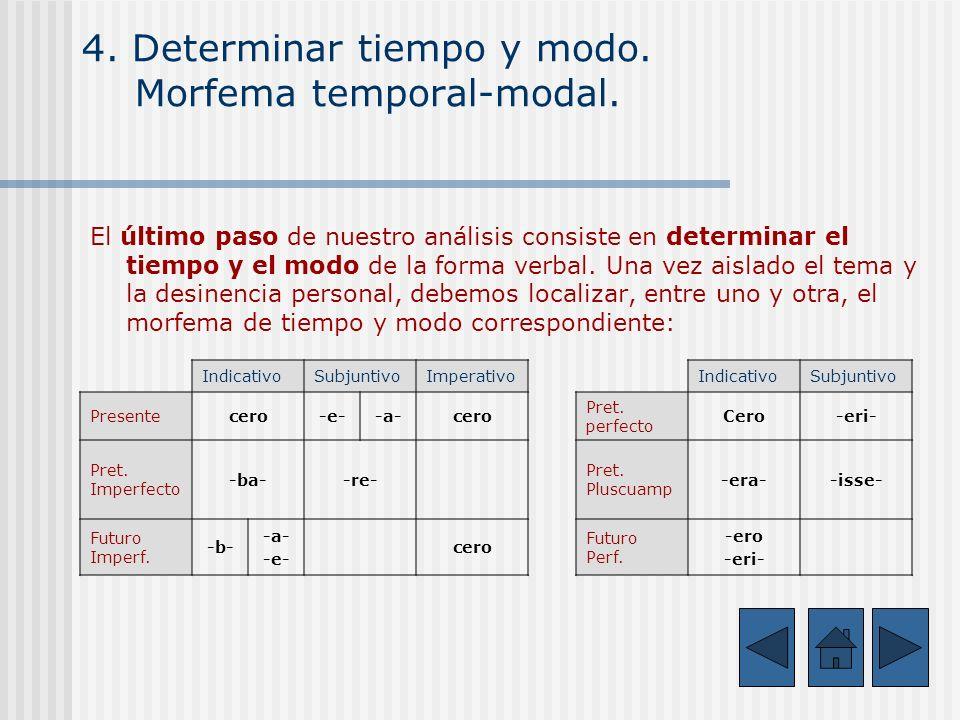 4. Determinar tiempo y modo. Morfema temporal-modal.
