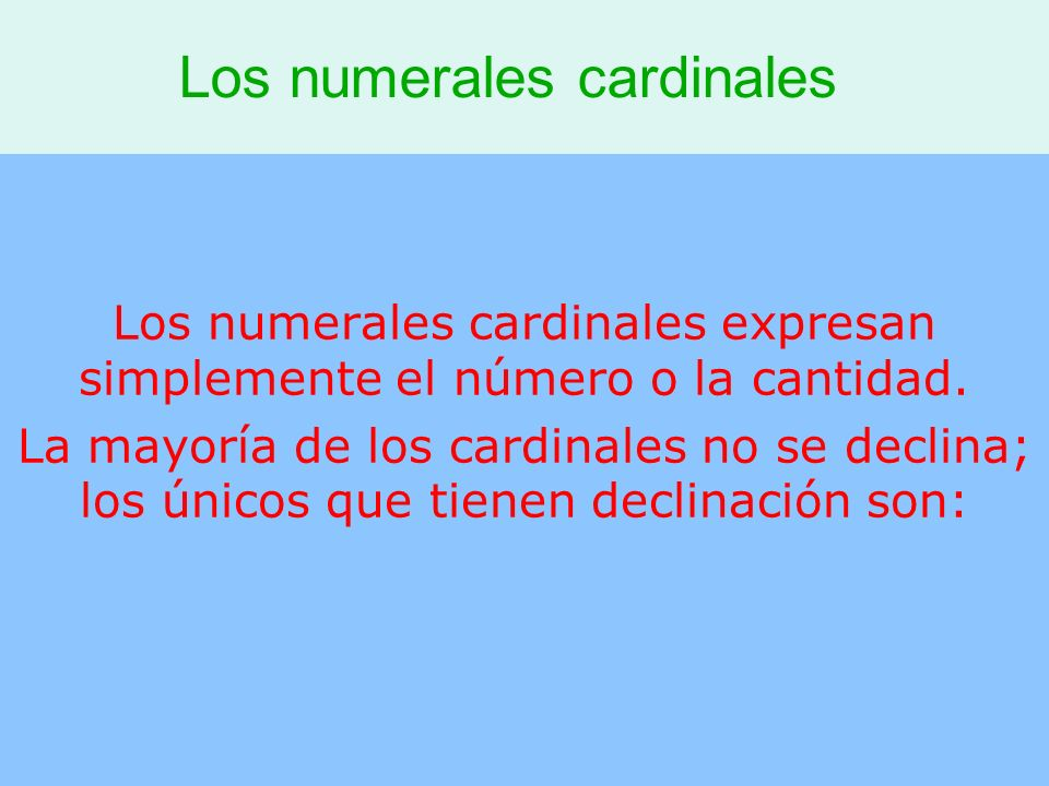 Los numerales cardinales
