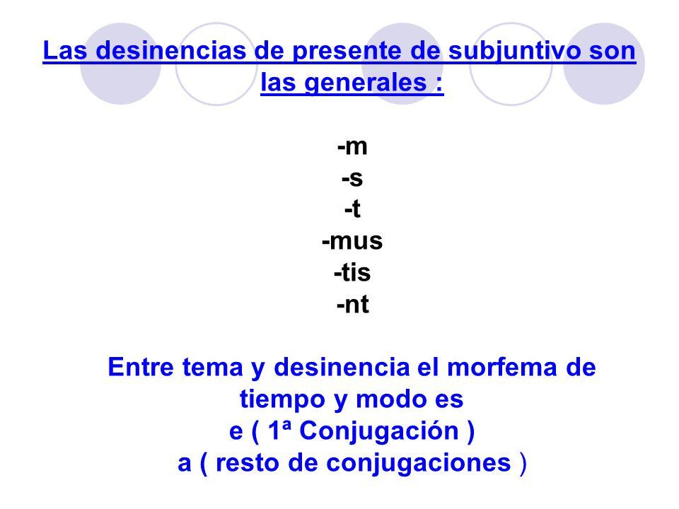 Las desinencias de presente de subjuntivo son las generales : -m -s -t -mus -tis -nt Entre tema y desinencia el morfema de tiempo y modo es e ( 1ª Conjugación ) a ( resto de conjugaciones )
