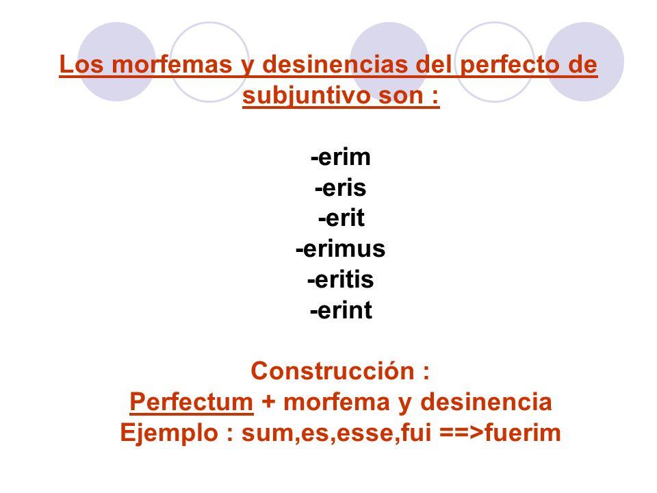 Los morfemas y desinencias del perfecto de subjuntivo son : -erim -eris -erit -erimus -eritis -erint Construcción : Perfectum + morfema y desinencia Ejemplo : sum,es,esse,fui ==>fuerim