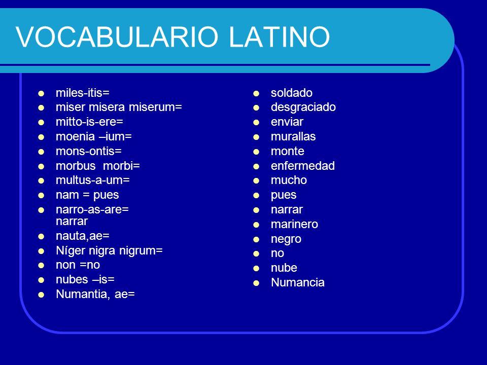 VOCABULARIO LATINO miles-itis= miser misera miserum= mitto-is-ere=