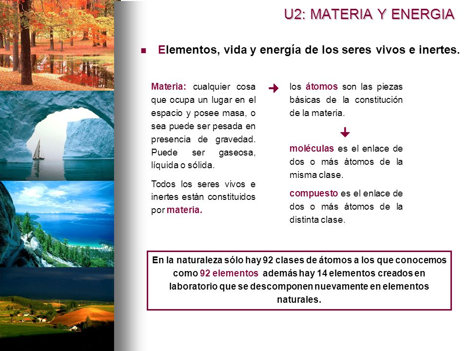 U2: MATERIA Y ENERGIA Elementos, vida y energía de los seres vivos e inertes.